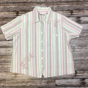 Alfred Dunner Butterfly Striped Blouse 12P